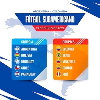 Realistyczna ilustracja grup futbolu południowoamerykańskiego