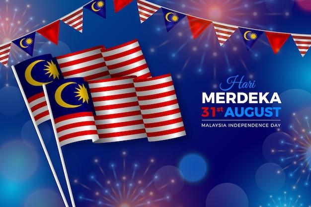 Realistyczna ilustracja hari merdeka