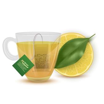 Realistyczna ilustracja herbaty cytrynowej, filiżanka herbaty