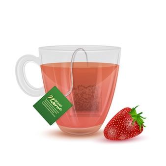 Realistyczna ilustracja herbaty truskawkowej, filiżanki herbaty