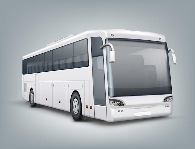 Realistyczna ilustracja. jeden autobus pasażerski w widoku perspektywicznym, na białym tle na szarym tle