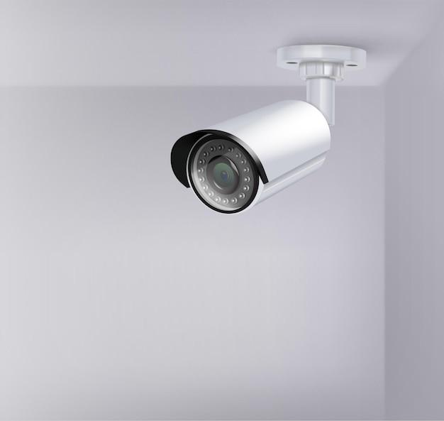 Realistyczna ilustracja kamery bezpieczeństwa nadzoru wideo
