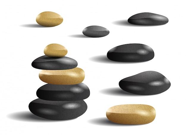 Realistyczna ilustracja kamieni. salon spa, zen, rekreacja. koncepcja pielęgnacji ciała.
