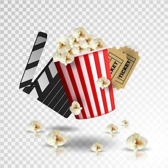 Realistyczna ilustracja kino. wiaderko z popcornem, klaps, taśma filmowa i rolka, latający popcorn w ruchu.