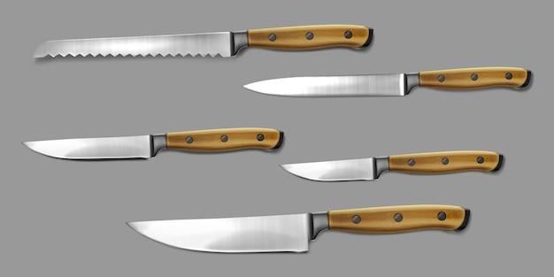 Realistyczna ilustracja kolekcji noży