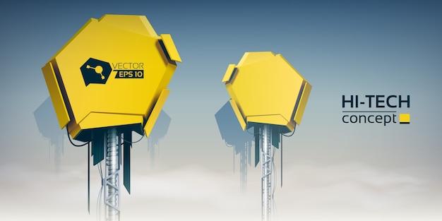 Realistyczna ilustracja kolorowego nieba chmurowego z dwoma żółtymi urządzeniami technicznymi dla twórców produktów zaawansowanych technologii