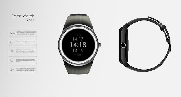Realistyczna ilustracja koncepcji inteligentnego zegarka, funkcji technologicznych i tekstu szablonu.