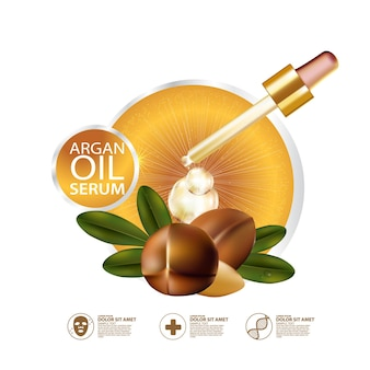 Realistyczna ilustracja kosmetyku ze składnikami kosmetyku do pielęgnacji skóry z olejem arganowym