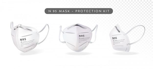 Realistyczna ilustracja maski n95 w trzech różnych kątach