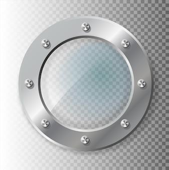 Realistyczna ilustracja metalowego iluminatora o różnym kształcie na przezroczystym