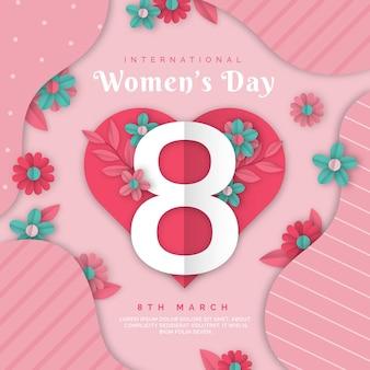 Realistyczna ilustracja międzynarodowego dnia kobiet w stylu papierowym