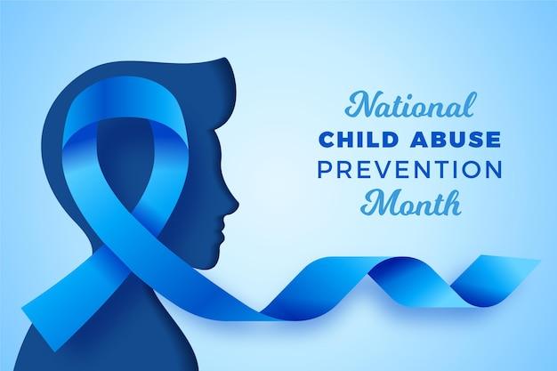 Realistyczna Ilustracja Miesiąca Zapobiegania Wykorzystywaniu Dzieci Darmowych Wektorów