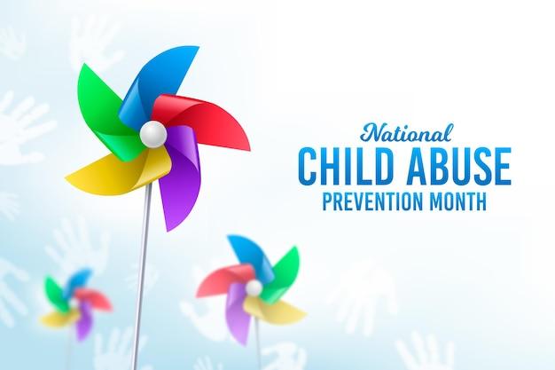 Realistyczna ilustracja miesiąca zapobiegania wykorzystywaniu dzieci
