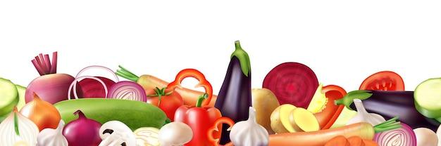 Realistyczna ilustracja na białym tle warzyw