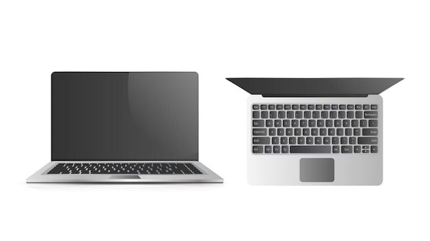 Realistyczna ilustracja otwartego laptopa.