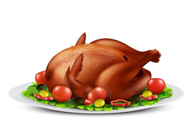 Realistyczna ilustracja pieczonego indyka lub grillowanego kurczaka z przyprawami i warzywami