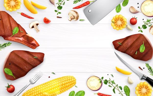Realistyczna ilustracja pieczonego mięsa, grzybów, przypraw i kukurydzy