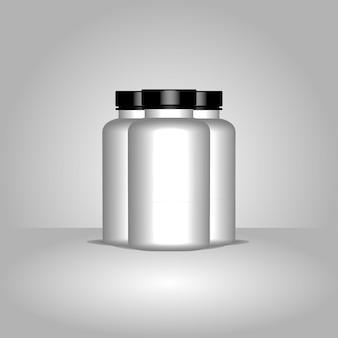 Realistyczna ilustracja plastikowej butelki leku