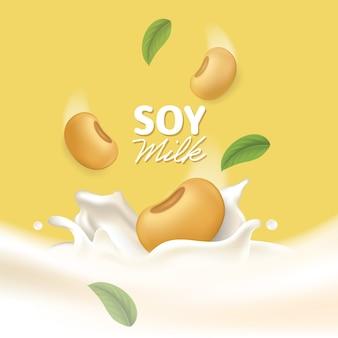 Realistyczna ilustracja powitalny mleka sojowego