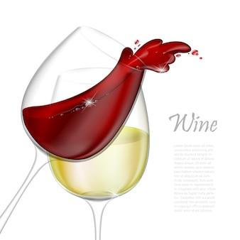 Realistyczna ilustracja. przezroczysty kieliszek na białym tle z czerwonego i białego wina. czerwone wino leje się z odrobiną szkła
