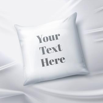 Realistyczna ilustracja pusta biała poduszka na białym tle na prześcieradle