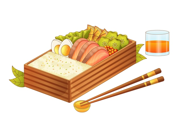 Realistyczna ilustracja ręcznie rysowane pudełko bento