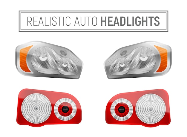 Realistyczna ilustracja reflektorów samochodowych