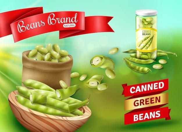 Realistyczna ilustracja reklamowa z naturalną zieloną fasolką w puszkach