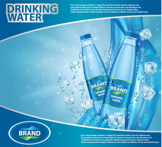 Realistyczna ilustracja reklamy wody pitnej