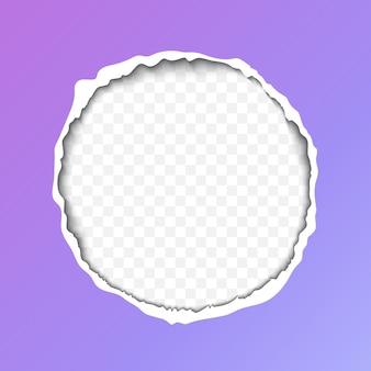 Realistyczna ilustracja rozdartego papieru z cieniem