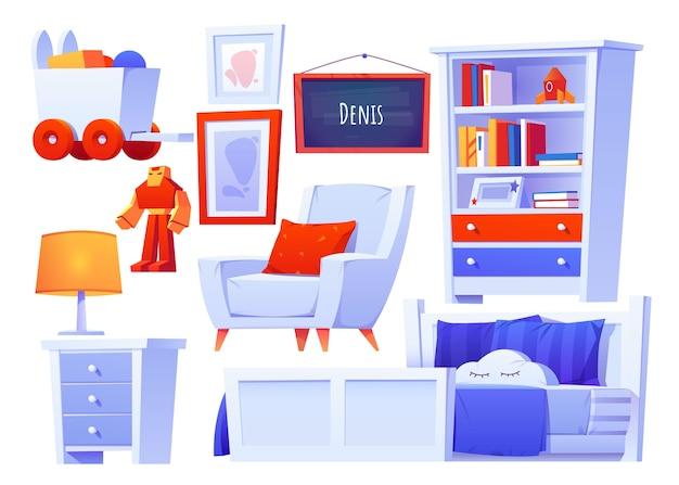Realistyczna ilustracja różnych zestawów mebli