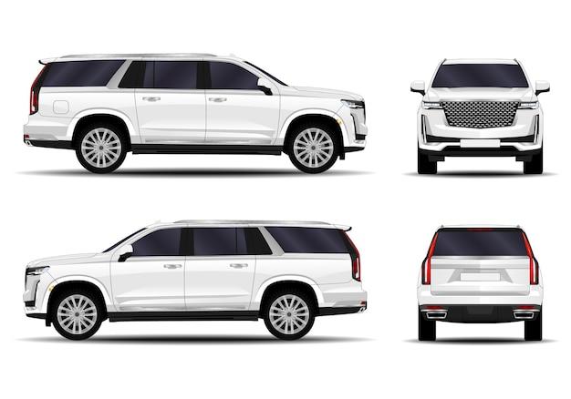 Realistyczna ilustracja samochodu w różnych widokach