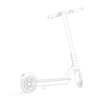 Realistyczna ilustracja skutera elektrycznego w stylu liniowym na białym tle. widok perspektywiczny.