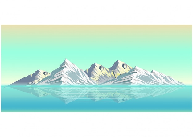 Realistyczna ilustracja śnieżny góra krajobraz