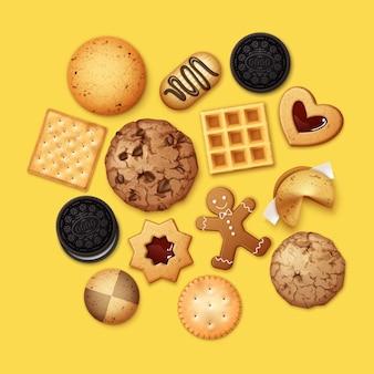 Realistyczna ilustracja stosu różnych ciasteczek czekoladowych i biszkoptowych, pierniki i wafle