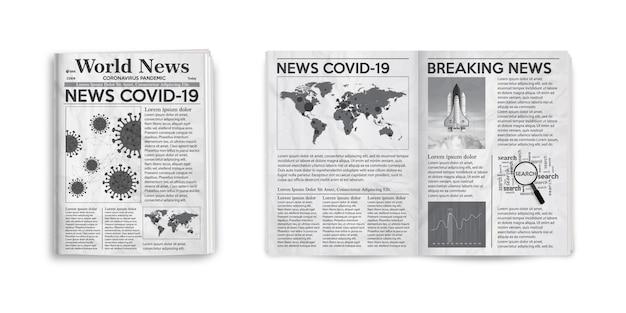 Realistyczna ilustracja strony i okładki czarno-białej gazety z aktualnościami covid-19.