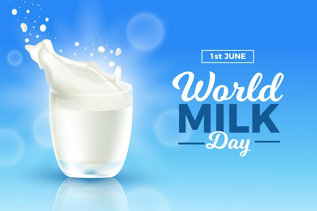 Realistyczna ilustracja światowego dnia mleka