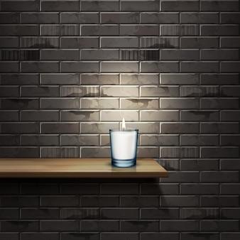 Realistyczna ilustracja świecy w szklanym pojemniku na drewnianej półce