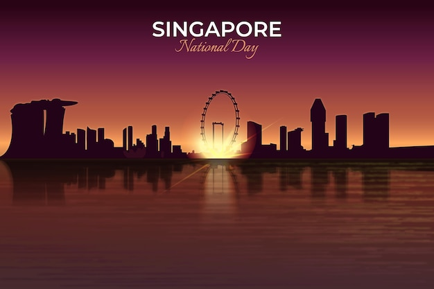 Realistyczna ilustracja święta narodowego w singapurze