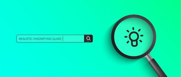 Realistyczna ilustracja szkło powiększające na zielonym kolorze