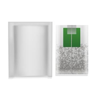 Realistyczna ilustracja torebka herbaty z zieloną etykietą na białym tle.