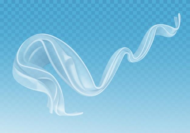Realistyczna ilustracja trzepoczących białych tkanin, miękkiego lekkiego przezroczystego materiału na niebieskim przezroczystym tle