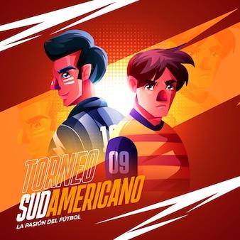 Realistyczna ilustracja turnieju piłki nożnej w ameryce południowej