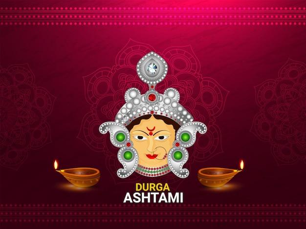Realistyczna ilustracja wektorowa karty celebracji szczęśliwej durga ashtami