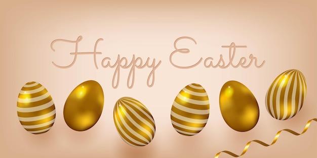 Realistyczna ilustracja. wielkanoc pozdrowienie transparent. jajka z efektem złota, latające konfetti. elegancki styl.