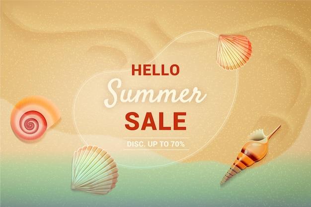 Realistyczna ilustracja witaj letniej sprzedaży