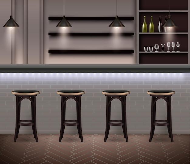 Realistyczna ilustracja wnętrza baru w nowoczesnej ilustracji z wysokimi krzesłami barowymi i półkami z butelkami alkoholu i kieliszkami do wina