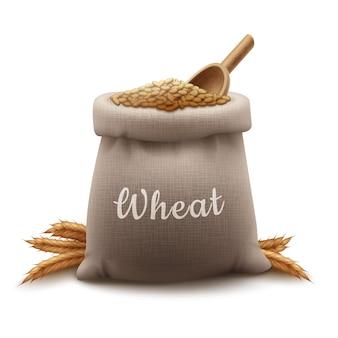 Realistyczna ilustracja worek ziarna pszenicy z kłoskami łopaty i zbóż