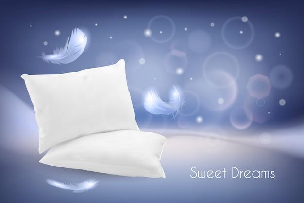 Realistyczna ilustracja z białymi poduszkami i piórkami.