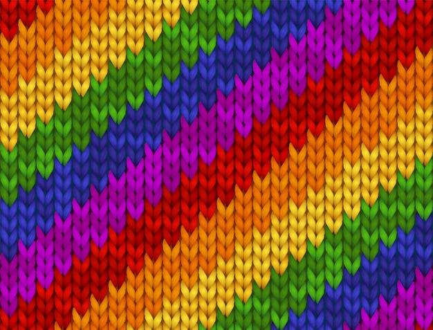 Realistyczna ilustracja z dzianiny. tęczowa tekstura, symbol gejów, lesbijek, osób biseksualnych i transpłciowych lgbt flaga dumy. wzór na tle, tapeta, druk ,.